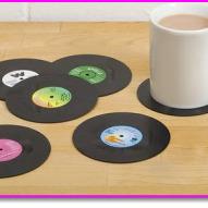 Retro Vinyl Record Coasters -Perfect Xmas Gift